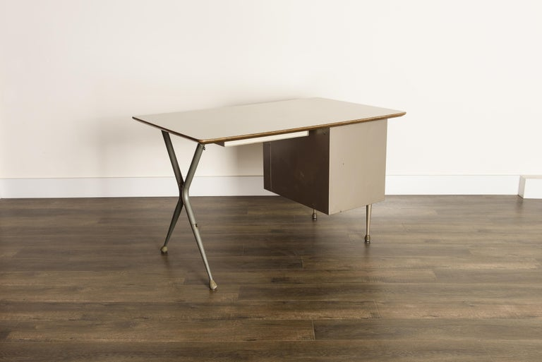 Industrial Desk by Raymond Loewy for Brunswick of Chicago, circa 1950s, Signed  2