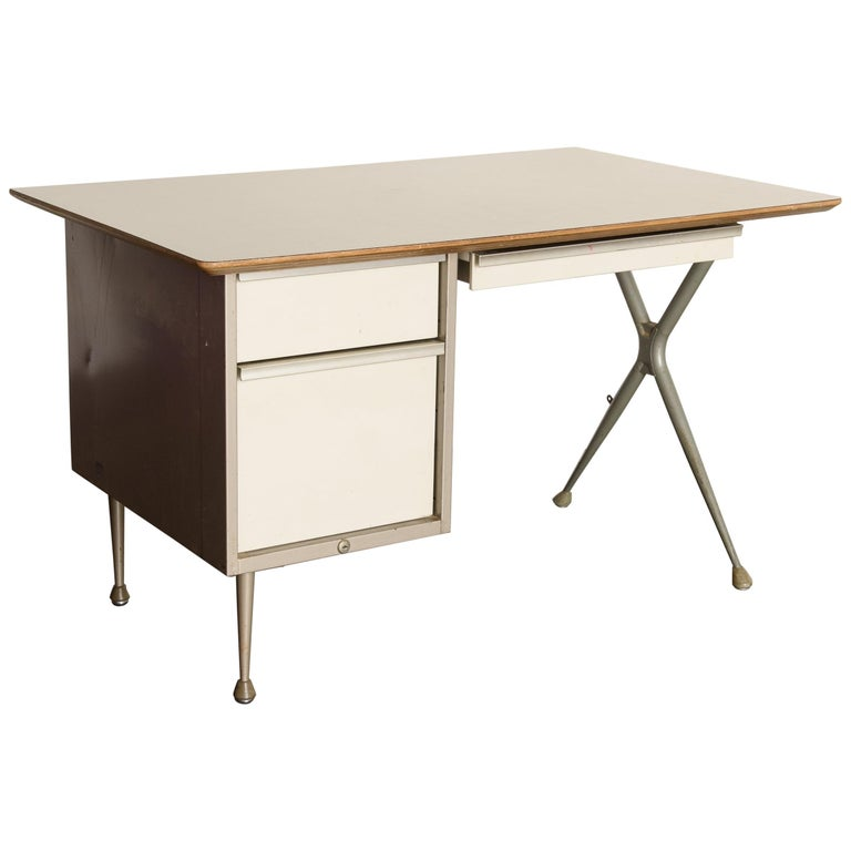 Industrial Desk by Raymond Loewy for Brunswick of Chicago, circa 1950s, Signed