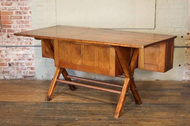 Industrial Desk Workbench, Pine Work Table, Draftsmans Workbench For Sale 4