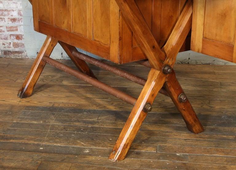 Industrial Desk Workbench, Pine Work Table, Draftsmans Workbench For Sale 5