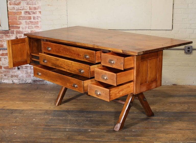 American Industrial Desk Workbench, Pine Work Table, Draftsmans Workbench For Sale