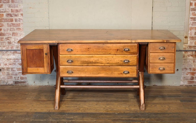 Mid-20th Century Industrial Desk Workbench, Pine Work Table, Draftsmans Workbench For Sale