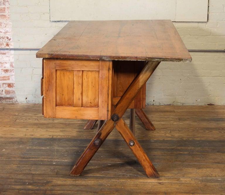 Steel Industrial Desk Workbench, Pine Work Table, Draftsmans Workbench For Sale