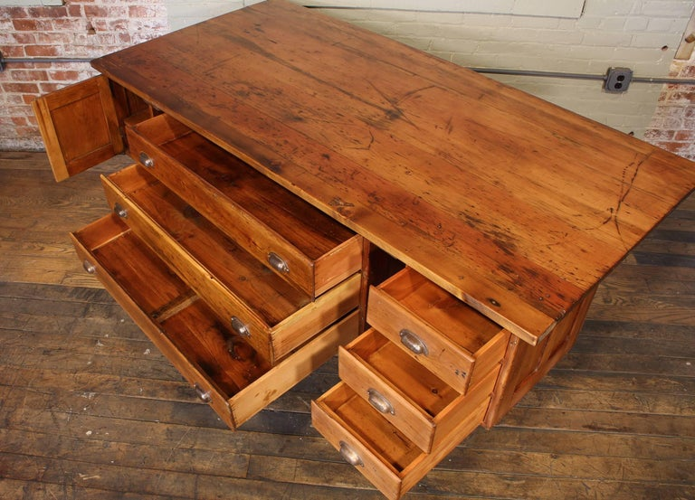 Industrial Desk Workbench, Pine Work Table, Draftsmans Workbench For Sale 1