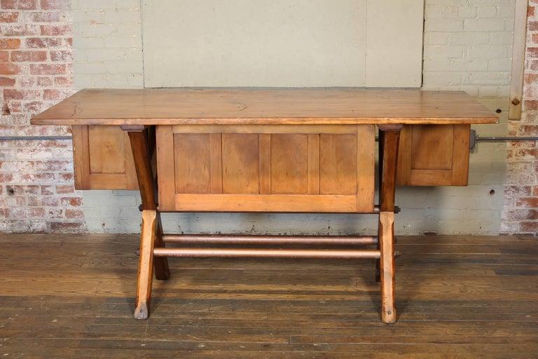 Industrial Desk Workbench, Pine Work Table, Draftsmans Workbench For Sale 3