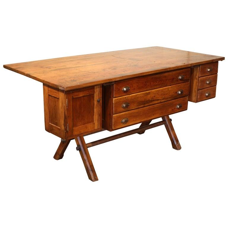 Industrial Desk Workbench, Pine Work Table, Draftsmans Workbench For Sale