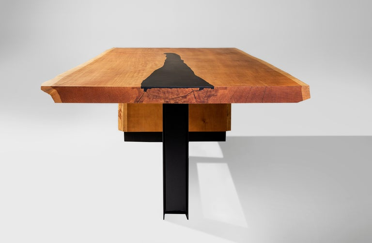 Brazilian Industrial Dining Table Tala in Solid Wood by Larissa Batista For Sale