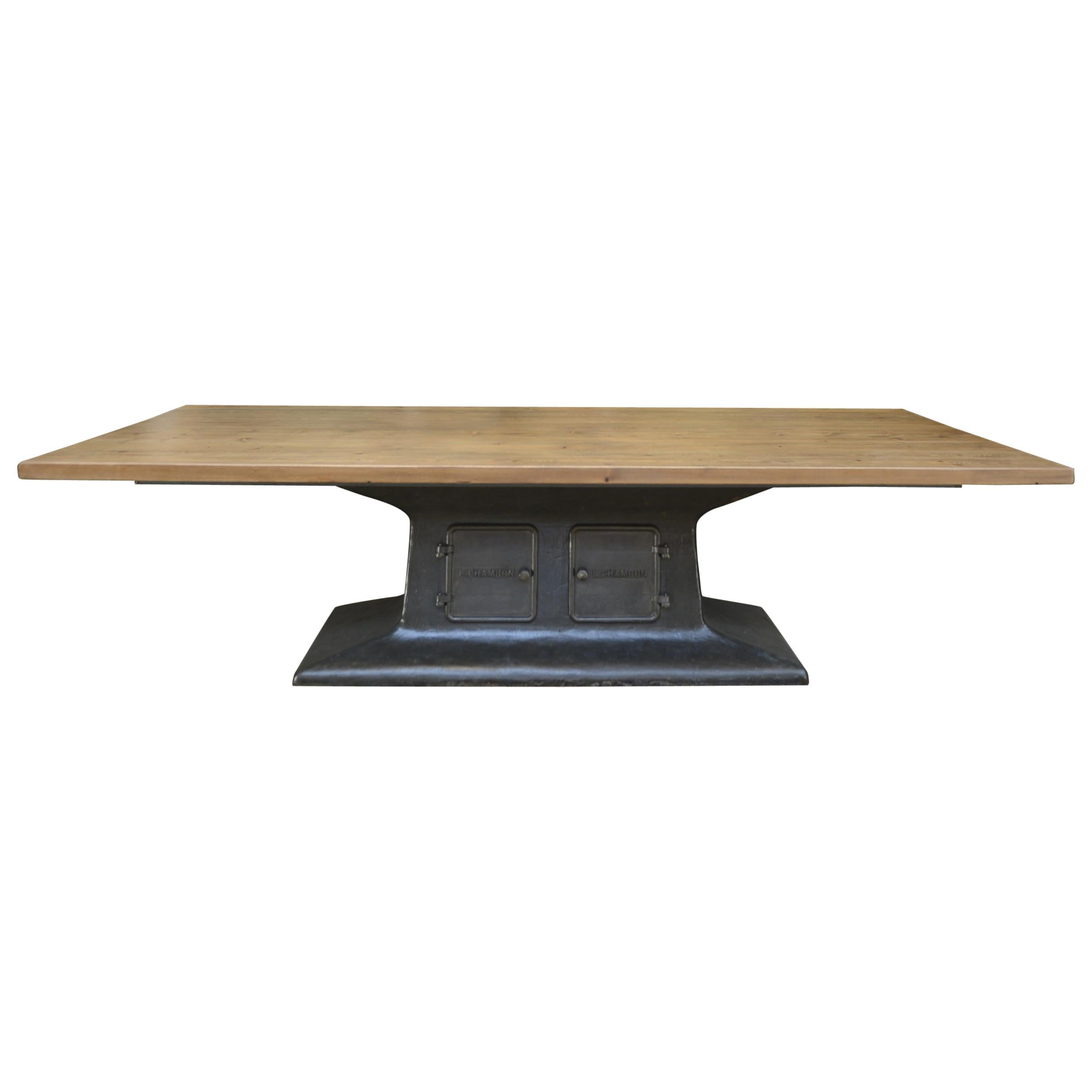 Industrial Dining Table with Cast Iron L Chambon French Machine Base