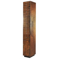 Industrial Dutch Tall Printer's Cabinet with Multiple Drawers, 1920s