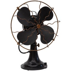 Industrieller elektrischer schwarzer Ventilator im niederländischen Design, 1930er
