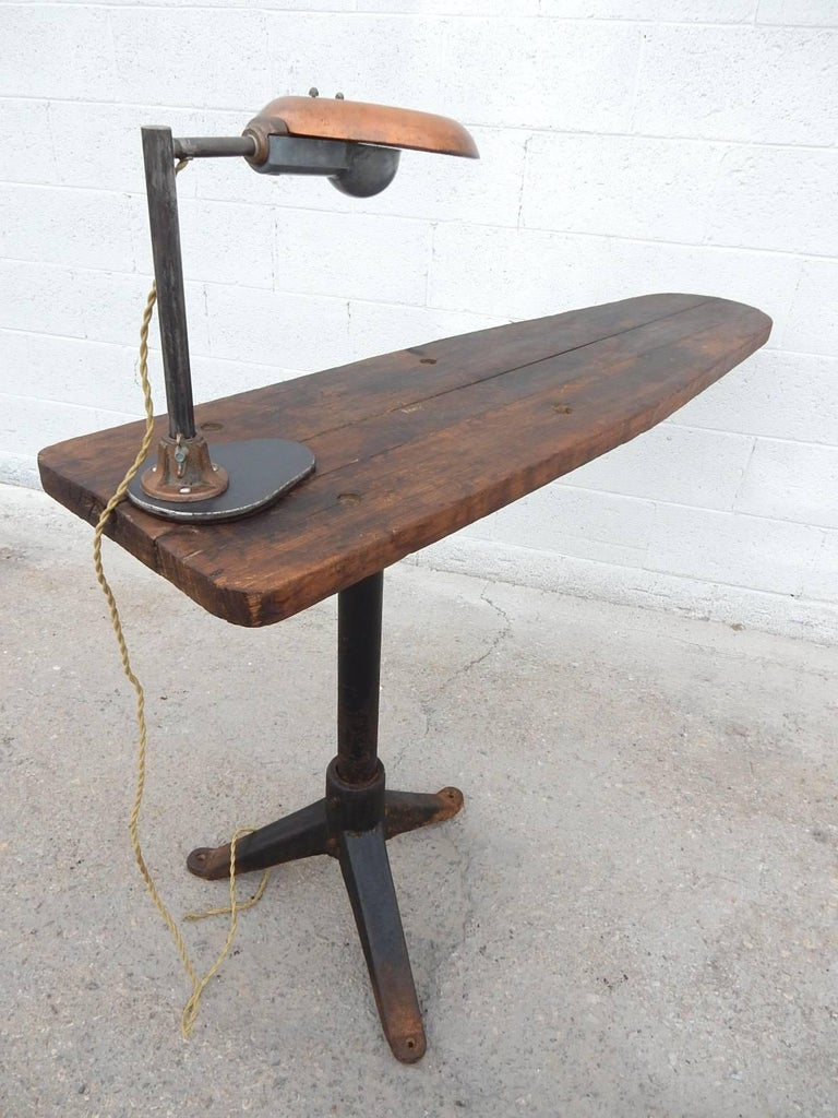 Industrial era cantilevered work table with avant garde inspection unique industrial era adjustable cantilever wood and iron work table with original avant garde inspection lamp aloadofball Images
