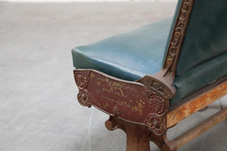 Industrial Era Cast Iron Brooklyn Trolley Reversible Settee Bench, circa 1910 For Sale 4