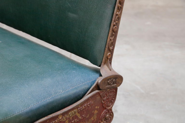 Industrial Era Cast Iron Brooklyn Trolley Reversible Settee Bench, circa 1910 For Sale 7