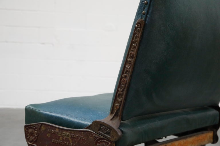 Industrial Era Cast Iron Brooklyn Trolley Reversible Settee Bench, circa 1910 For Sale 13