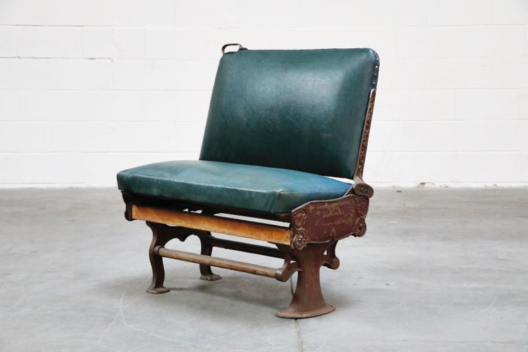 American Industrial Era Cast Iron Brooklyn Trolley Reversible Settee Bench, circa 1910 For Sale