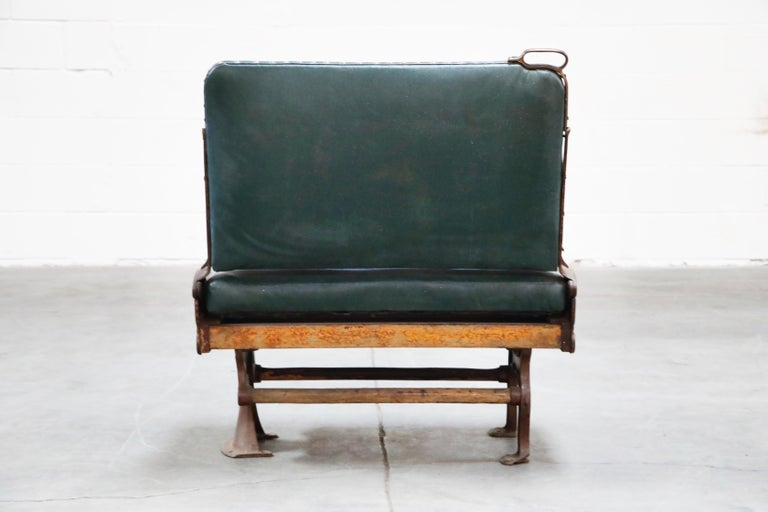 Industrial Era Cast Iron Brooklyn Trolley Reversible Settee Bench, circa 1910 For Sale 1