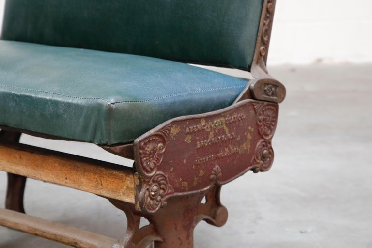 Industrial Era Cast Iron Brooklyn Trolley Reversible Settee Bench, circa 1910 For Sale 2