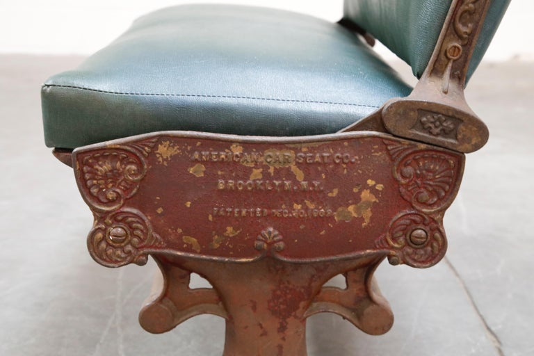 Industrial Era Cast Iron Brooklyn Trolley Reversible Settee Bench, circa 1910 For Sale 3
