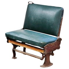 Industrial Era Cast Iron Brooklyn Trolley Reversible Settee Bench, circa 1910