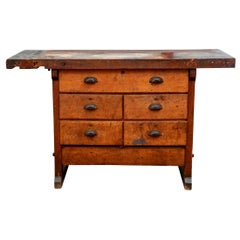 Industrial Era Pine Work Table by Richards Wilcox, Aurora Illinois