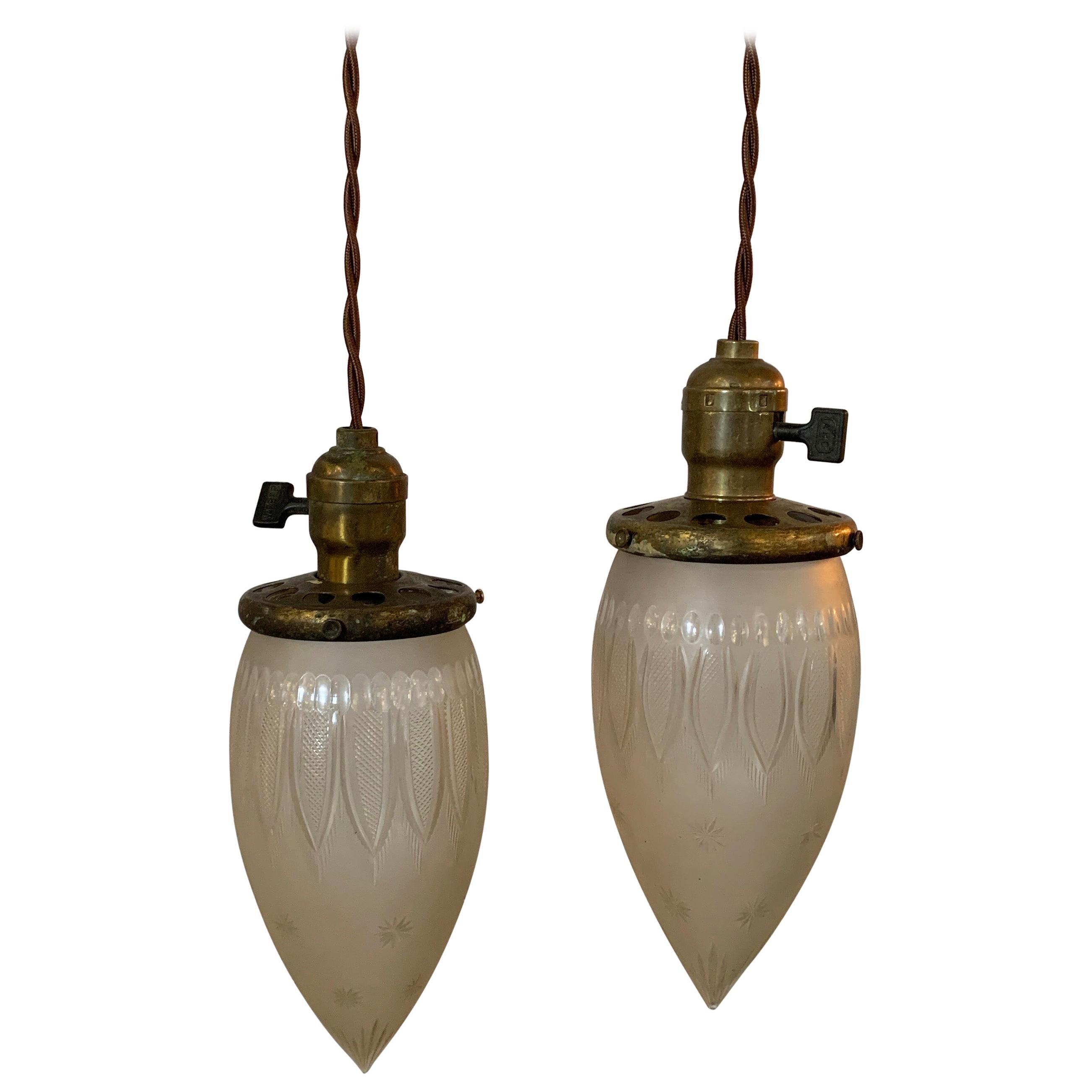 Industrial Etched Glass Teardrop Pendant Light