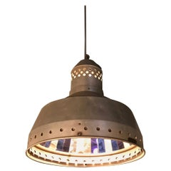 Industrial Faceted Mirror Factory Pendant Light