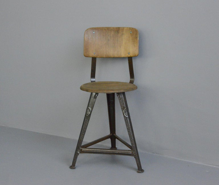 Industrial factory chair by Rowac, circa 1920s