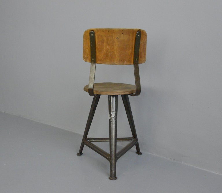 Steel Industrial Factory Chair by Rowac, circa 1920s For Sale