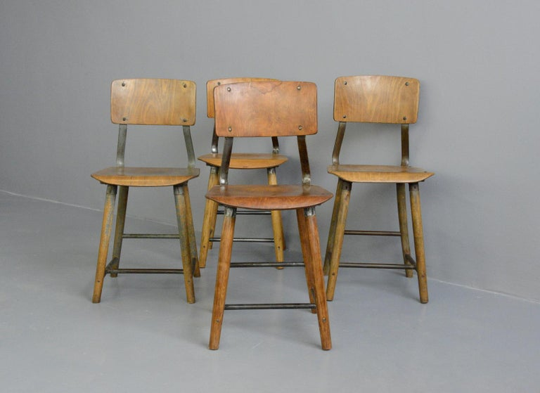 German Industrial Factory Chairs By Rowac, circa 1930s For Sale