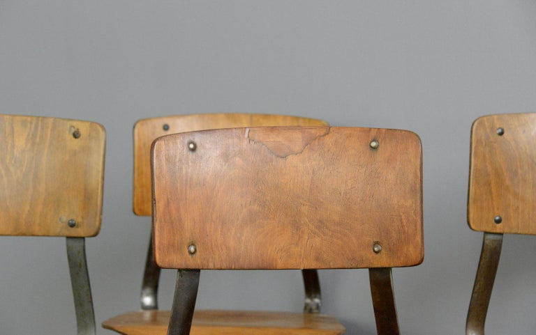 Industrial Factory Chairs By Rowac, circa 1930s In Good Condition For Sale In Gloucester, GB
