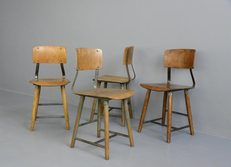 Mid-20th Century Industrial Factory Chairs By Rowac, circa 1930s For Sale