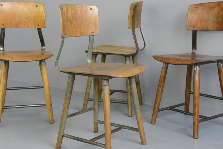 Steel Industrial Factory Chairs By Rowac, circa 1930s For Sale