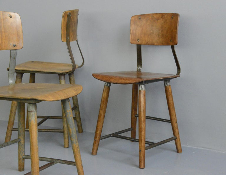 Industrial Factory Chairs By Rowac, circa 1930s For Sale 1