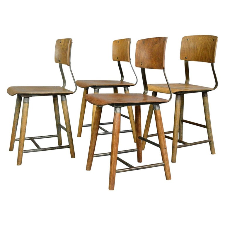 Industrial Factory Chairs By Rowac, circa 1930s For Sale