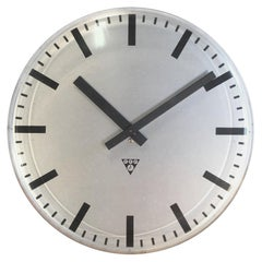 Industrial Factory Office Wall Clock from Pragotron, 1980s