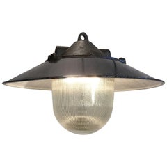 Industrial Factory Pendant Lamp, Dark Grey Enamel Shade Cast Iron Top