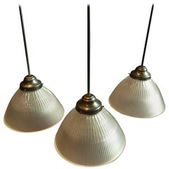 Industrial Factory Prismatic Holophane Glass Dome Pendant Lights