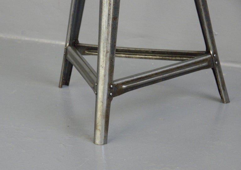 Industrial factory stool by Rowac, circa 1930s  - Branded under the seat - By Robert Wagner, Chemnitz - German, 1930s - Measures: 60cm tall x 35cm wide  Rowac  Robert Wagner's founded his company in 1888 in Chemnitz, better known as Rowac.
