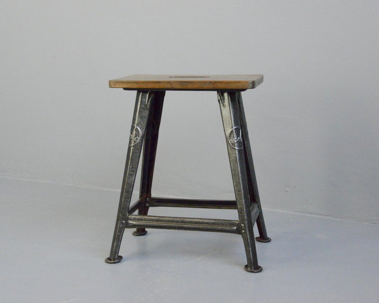 German Industrial Factory Stool by Rowac, Circa 1930s For Sale