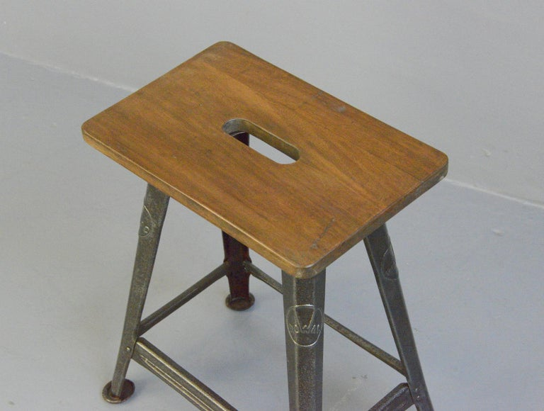 Industrial Factory Stool by Rowac, Circa 1930s In Good Condition For Sale In Gloucester, GB