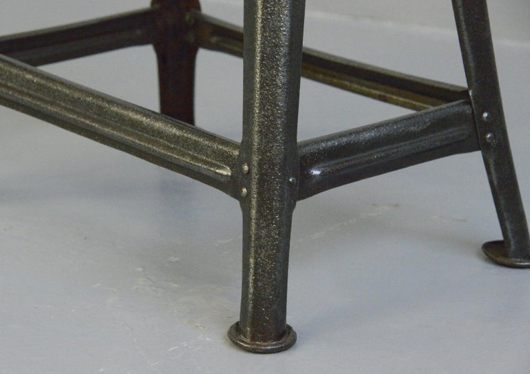 Steel Industrial Factory Stool by Rowac, Circa 1930s For Sale