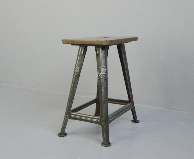 Industrial Factory Stool by Rowac, Circa 1930s For Sale 2