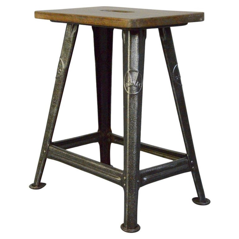 Industrial Factory Stool by Rowac, Circa 1930s For Sale