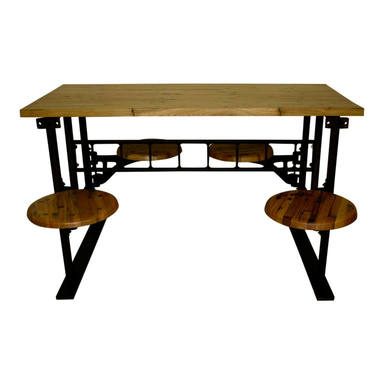 North American Industrial Factory Table with Four Swinging Seats For Sale