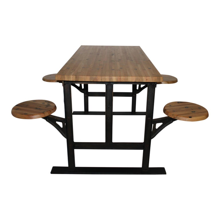 Industrial Factory Table with Four Swinging Seats In New Condition For Sale In Evergreen, CO