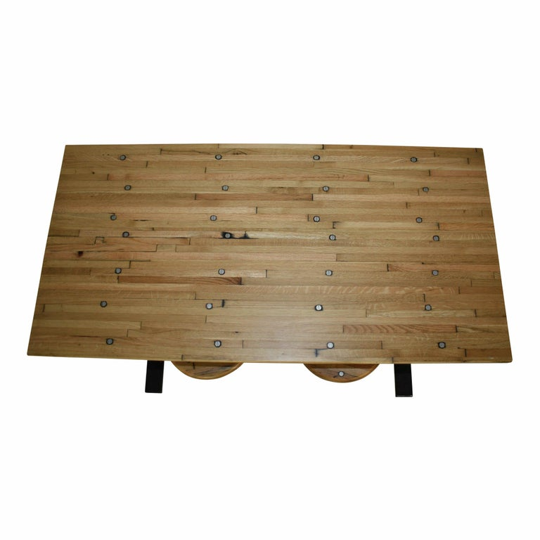Contemporary Industrial Factory Table with Four Swinging Seats For Sale