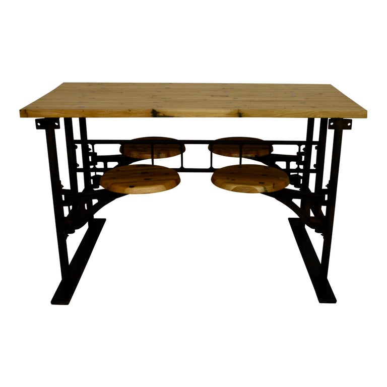 Industrial Factory Table with Four Swinging Seats For Sale 3