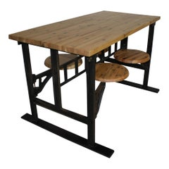 Industrial Factory Table with Four Swinging Seats