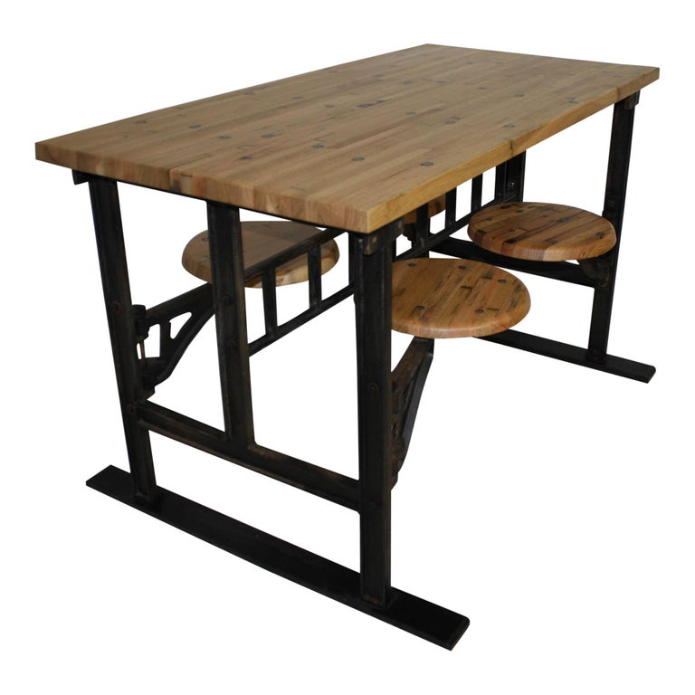 Industrial Factory Table with Four Swinging Seats For Sale
