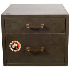 Industrial Factory Two-Drawer Cabinet with Brass Pulls, circa 1940